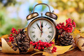Old clock on autumn leaves on wooden table on natural background — Zdjęcie stockowe