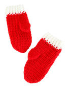 Red winter mittens isolated on whited — Stock Photo