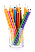 Colorful pencils in glass — Stock Photo