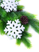 Christmas snowflakes on fir tree, isolated on white — Stock Photo