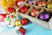 Christmas composition with Christmas toys — Stock Photo