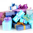 Pile of colorful gifts boxes isolated on white — Stock Photo #35832929