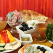 Traditional Turkish breakfast on table on fabric background — Stock Photo #35836517