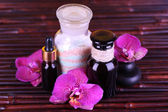 Spa setting with orchid — Stock Photo