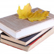 Books and autumn leaf — Stock Photo