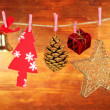 Christmas decorations on wooden background — Foto Stock