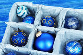 Christmas toys in wooden box — Stock Photo