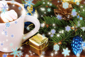 Cup of hot cacao with Christmas decorations — Stock Photo
