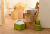 Room with stack of cartons — Stock Photo