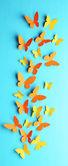 Paper butterflies on wooden board — Stock Photo