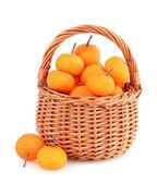 Small tangerines in wicker basket — Stock Photo