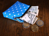Blue purse with money — Stock Photo