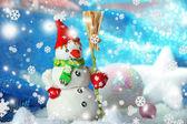 Beautiful snowman and Christmas decor — Stock Photo