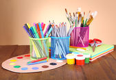 Various creative tools on table — Stock Photo
