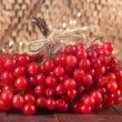 Red berries of viburnum on table on brown background — Stock Photo #35855523
