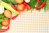 Cooking concept. Vegetables on tablecloth background — Stock Photo