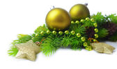 Christmas balls and decorative stars on fir tree, isolated on white — Stock Photo