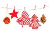 рождественские украшения, изолированные на белом фоне — Стоковое фото