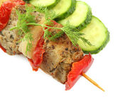 Tasty grilled meat and vegetables on skewer, isoalted on white — Stock Photo