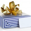 Gift box with blank label isolated on white — Stockfoto
