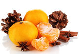 Christmas composition with tangerines isolated white — Stok fotoğraf