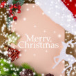 Letter for Santa with Christmas hat on table close-up — Stock Photo #35946489