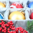 图库照片: Beautiful packaged Christmas balls, close up