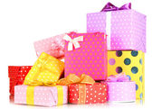 Pile of colorful gifts boxes isolated on white — ストック写真