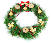 Christmas wreath decorated with cookies isolated on white — Stock Photo