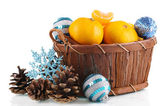 Christmas tangerines in basket isolated white — Stock Photo
