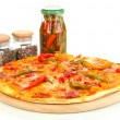 Tasty pepperoni pizza with vegetables on wooden board isolated on white — Stock Photo