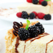 Slices of cheesecakes on plate, close-up — Stock Photo #35994523