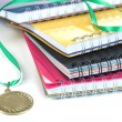 Stock Photo: Medal for achievement in education and notebooks close up