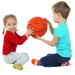 Little children playing with ball isolated on white — Stock Photo #35996557