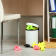 Stock Photo: Garbage bin, on office background