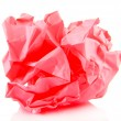 Pink crumpled paper ball isolated on white — Stock Photo #35997221