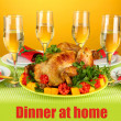 Banquet table with roast chicken on orange background close-up. Thanksgiving Day — Stock Photo