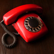 Red retro telephone,on dark background — Stock Photo