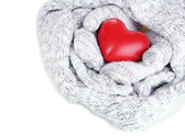 Female hands in mittens with heart, close-up — Stock Photo