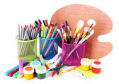 Composition of various creative tools isolated on white — Stock Photo