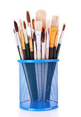 Many brushes in stand isolated on white — Zdjęcie stockowe