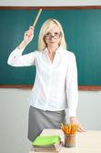 School teacher get angry in classroom — Stock Photo