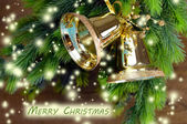 Bells with Christmas decoration on wooden background — Photo