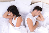 Offended couple in bed — Stock Photo