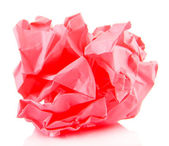 Pink crumpled paper ball isolated on white — Stock Photo