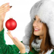 Stock Photo: Beautiful smiling girl with Christmas ball isolated on white