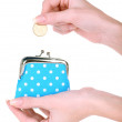 Female hand holding blue purse isolated on white — Stock Photo