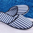 Stock Photo: Striped slippers on floor background