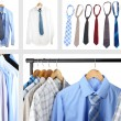 Collage of male shirts and ties — Stock Photo