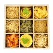 Nine types of pasta in wooden box sections close-up isolated on white — Stock Photo #36116055